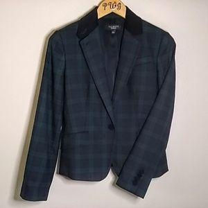 Talbot's plaid blazer blue green 2 wool blend